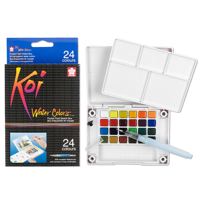 SKXNCW-24N Sakura Koi Water Color Pocket Field Sketch Box- 24 colors