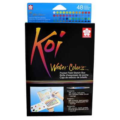 SKXNCW-48N Sakura Koi Water Color Pocket Field Sketch Box- 48 Colors
