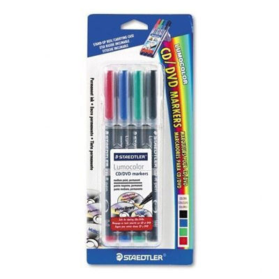 MS317CDWP4BK Staedtler Lumocolor CD/DVD Permanent Markers