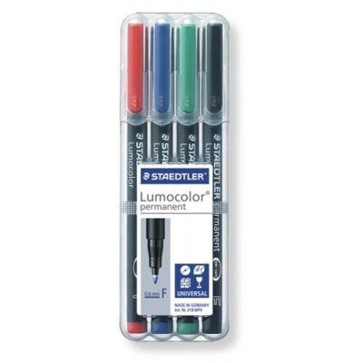 MS318WP4 Staedtler Lumocolor Permanent Marker- Fine 4pk