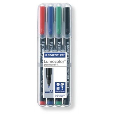 MS317WP4 Staedtler Lumocolor Permanent Marker- Medium 4pk