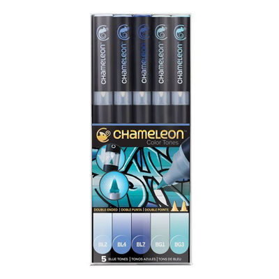 CLCT0513 Chameleon 5-Pen Blue Tones Set