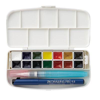 ZIG Kuretake Watercolor System Transparent Watercolor Set 14 Colors, Case & Pen