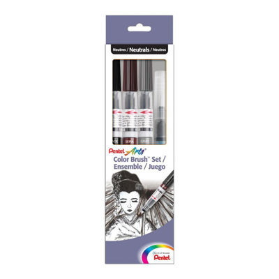 Pentel Color Brush Set, Black,Gray,Sepia, Aquash Water Brush Box Set
